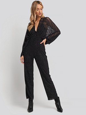 NA-KD Party Dolman Glittery Jumpsuit svart