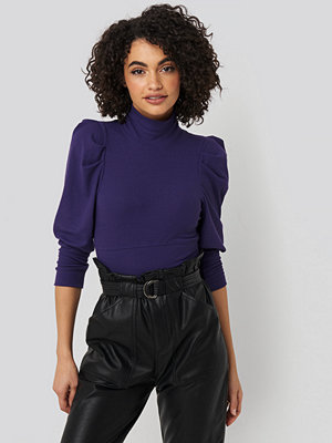 Trendyol Puff Sleeve Corded Knit Top lila