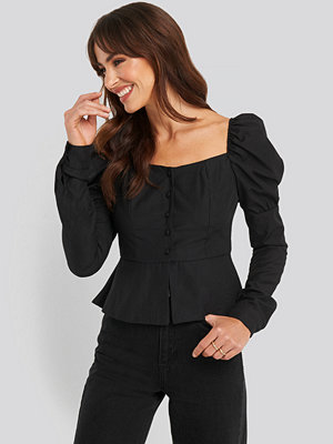 NA-KD Boho Buttoned Puff Sleeve Blouse svart