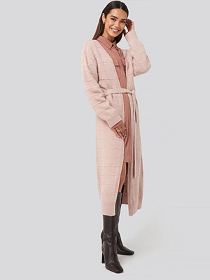 NA-KD Belted Long Cardigan rosa