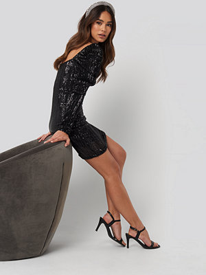 NA-KD Party Puff Shoulder Sequin Mini Dress svart