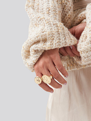 NA-KD Accessories smycke Oversized Coin Ring guld