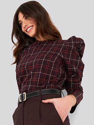NA-KD Trend Checked Puff Sleeve Blouse multicolor