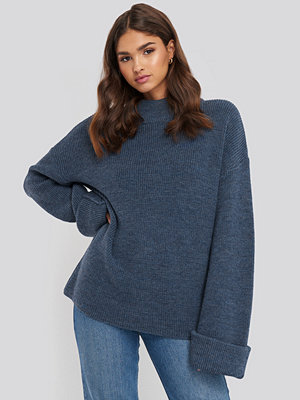 NA-KD Ribbed Knitted Turtleneck Sweater blå