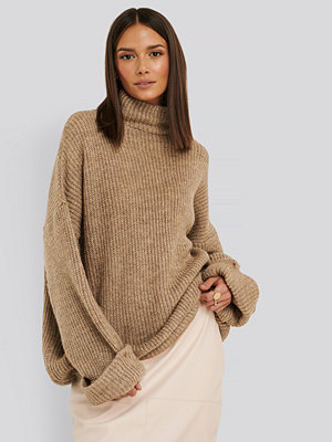 NA-KD Folded Sleeve Turtle Neck Knitted Sweater beige