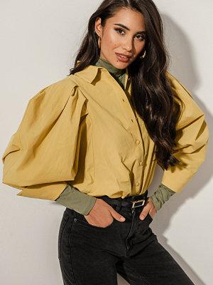 NA-KD Trend Oversized Puff Sleeve Shirt gul