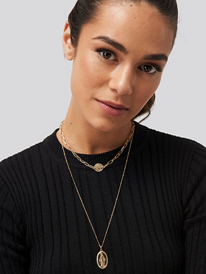 NA-KD Accessories smycke One Coin Layered Necklace guld
