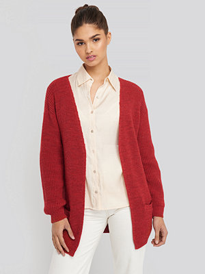 Cardigans - NA-KD Slouchy Open Front Cardigan röd