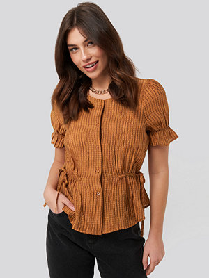 NA-KD Trend Tied Detail Puff Sleeve Blouse orange