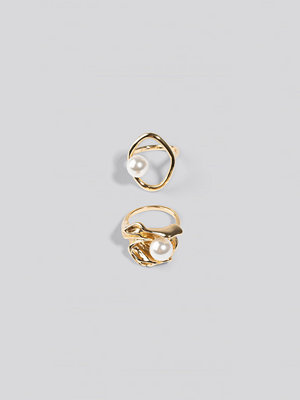 NA-KD Accessories smycke Double Pack Chunky Pearl Rings guld