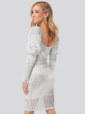 NA-KD Party Puff Shoulder Sequin Mini Dress silver