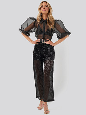 NA-KD Party svarta byxor Sequin Straight Pant svart
