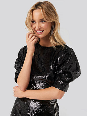 NA-KD Party Heavy Sequin Short Puff Sleeve Dress svart