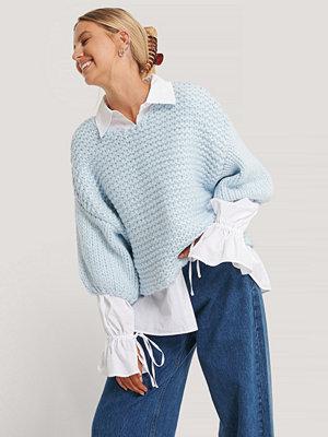 NA-KD Trend Heavy Knitted Short Sleeve Sweater blå