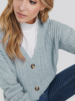 Cardigans - NA-KD Button Up Ribbed Cropped Cardigan blå