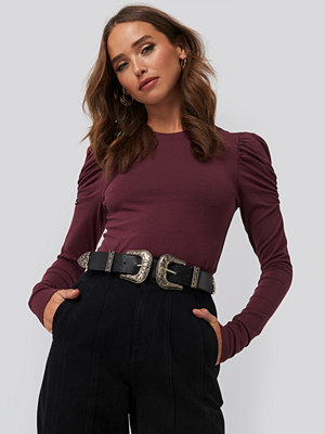 NA-KD Trend Puff Long Sleeve Jersey Top röd