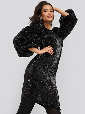 NA-KD Party Puff Sleeve Sequin Mini Dress svart