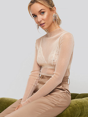 NA-KD Party Glittery High Neck Mesh Top guld