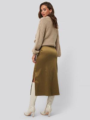 Kjolar - NA-KD Trend Split Seam Satin Midi Skirt brun