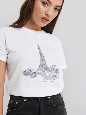 NA-KD Eiffel Tower Basic Tee vit