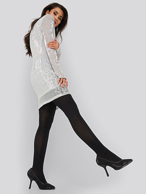 NA-KD Party Sequin Round Neck Mini Dress silver