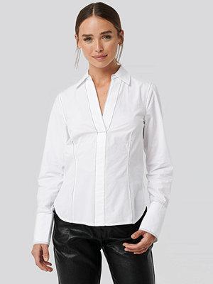 NA-KD Contrast Stitch Shirt vit