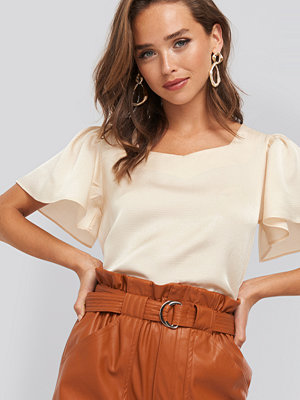 Blusar - NA-KD Sweetheart Short Sleeve Blouse beige