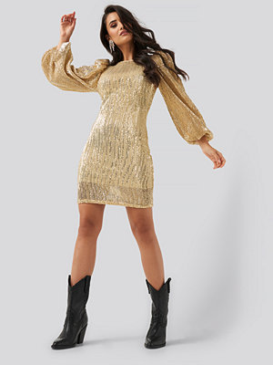 NA-KD Party Puff Sleeve Sequin Mini Dress guld