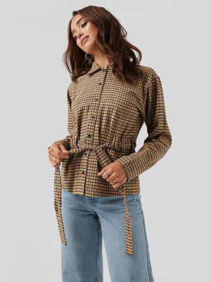 NA-KD Trend Tied Waist Checked Shirt multicolor