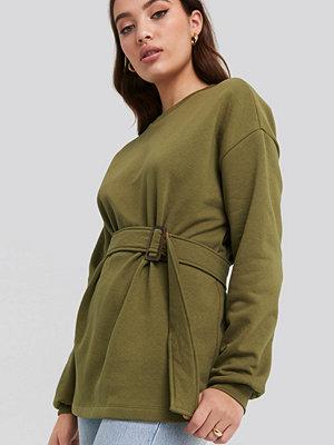 NA-KD Belted Sweatshirt grön