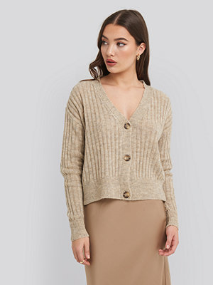NA-KD Button Up Ribbed Cropped Cardigan beige