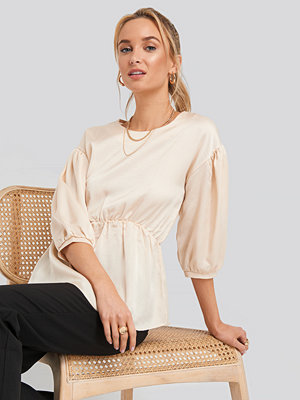 NA-KD Round Neck Gathered Peasant Blouse beige