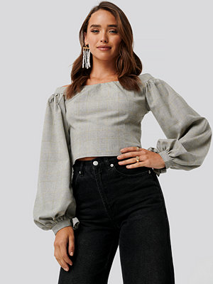 NA-KD Off Shoulder Puff Sleeve Checked Top multicolor