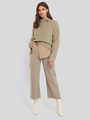 Trendyol High Waist Wide Leg Jeans with Pocket Detail beige