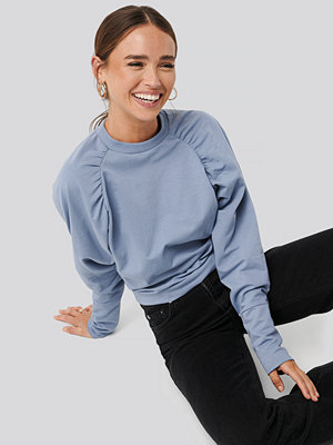 NA-KD Oversized Raglan Sleeve Detailed Sweater blå