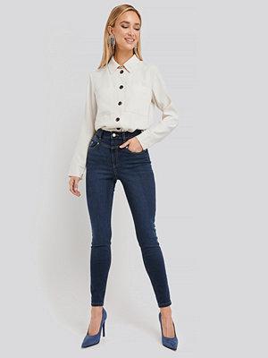 NA-KD Front Yoke Skinny Jeans blå