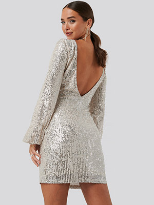 NA-KD Party Open Back Mini Sequin Dress beige