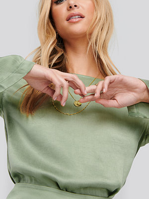 NA-KD Long Sleeve Side Slits Tunic grön