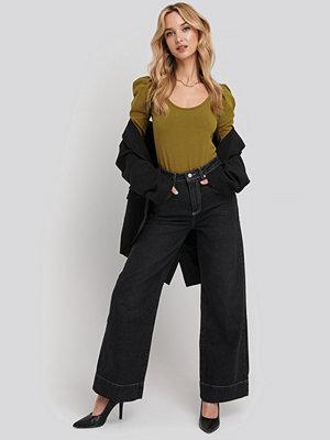 Trendyol Stitching High Waist Wide Leg Jeans svart