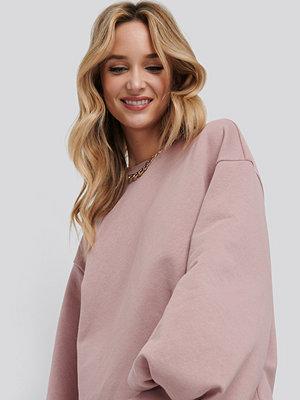 NA-KD Trend Puff Sleeve Sweatshirt Dress rosa
