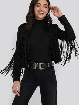 NA-KD Trend Fake Suede Fringe Jacket svart