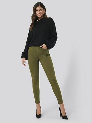 NA-KD High Waist Skinny Denim Jeans grön
