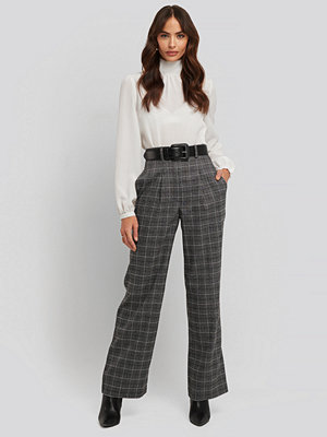 NA-KD Classic byxor Wide Leg Plaid Suit Pants grå