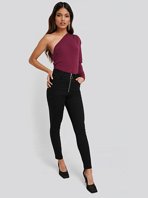NA-KD Exposed Zipper High Waist Skinny Jeans svart