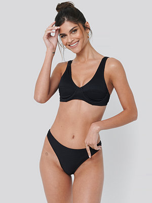 NA-KD Swimwear Ribbed Bikini Panty svart