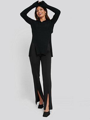 NA-KD svarta byxor Front Slit ZipperJersey Skinny Trousers svart