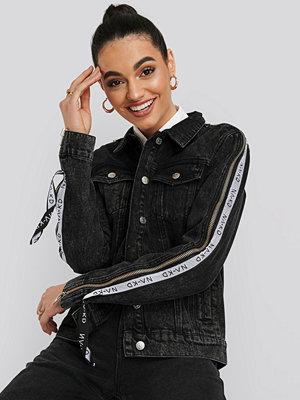 Jeansjackor - NA-KD Tape Zip Detail Denim Jacket svart