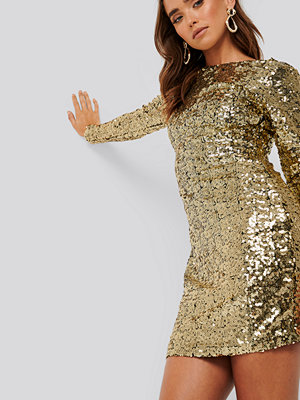 NA-KD Party Sequin Long Sleeve Dress guld