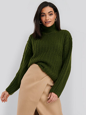 NA-KD High Neck Heavy Knitted Sweater grön