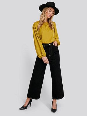 Trendyol Stitching Detailed High Waist Wide Leg Jeans svart
